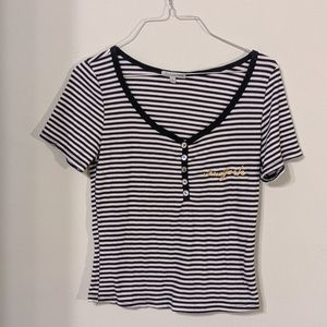 Charlotte Russe Striped New York Top Size L
